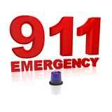 911 emergency. Red 911 energency text with blue light Stock Photo