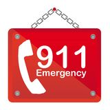 911 emergency. Red board isolated vector illustration Royalty Free Stock Images