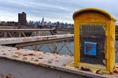 911 Emergency Phone on Brooklyn Bridge Royalty Free Stock Photography