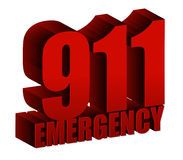 911 Emergency text. Illustration design over white Royalty Free Stock Image