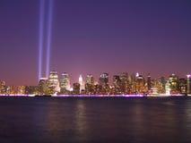 911 lights tribute Στοκ φωτογραφία με δικαίωμα ελεύθερης χρήσης