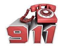 911 Phone. Red phone on the 911 numbers Royalty Free Stock Photos