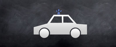 911 - Police Car Crusing. A sketch of Police car cruiser on a blackboard Royalty Free Stock Image