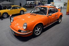 911 RS 2.7. An Orange Porsche 911 Carrera RS 2.7 at the Ruoteclassiche stand in the Milano Autoclassica exhibition. To celebrate the 50th of Porsche 911 the Stock Photos