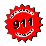 911 Sign. Red star with 911 emergency info Stock Photography
