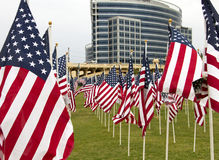 911 United States Memorial Day Patriotic Flags. Three thousand red, white, and blue United States stars and stripes flags wave at 911 memorial in Tempe, Arizona stock photo
