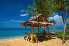 9261on the beach-2. Bamboo house on the sandy beach Royalty Free Stock Image