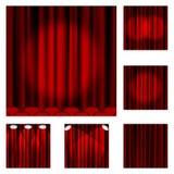 94个红色窗帘 库存照片