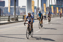94.7 Cycle Challenge Riders On Mandela Bridge Royalty Free Stock Photography