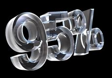 95 percent in glass (3D) Royalty Free Stock Photography