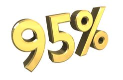 95 percent in gold (3D). 95 percent in gold (3D made Stock Photos
