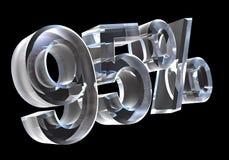 95 por cento no vidro (3D) Fotografia de Stock Royalty Free