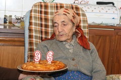 96 Jahre alte Frau Stockbild