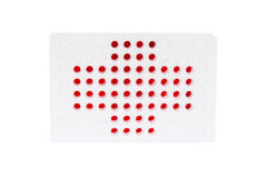 96 well plate with  red fluid. 96 well plate with red fluid represent Swiss flag Stock Photography