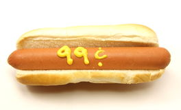99 Cent Foot Long Hot Dog Royalty Free Stock Photography