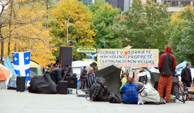 99% occupent le mouvement à Montréal Images libres de droits