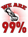 We are 99 % Occupy Wall Street American Worker. Retro style illustration of male worker protesting with clenched fist and words occupy wall street that also vector illustration