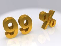 99 percent. Three dimensional illustration of the number 99 and the percent symbol in gold block letters stock illustration