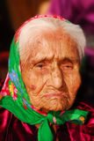 99 year old Navajo woman. Portrait of a wrinkled 99 year old Navajo Native American woman royalty free stock photography