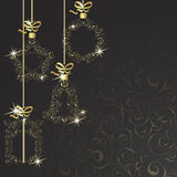 99Christmas background. Background with Christmas decorations on a black background Stock Image