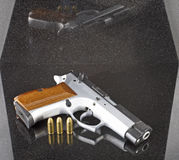 9mm automatic pistol. With three bullets Stock Photos