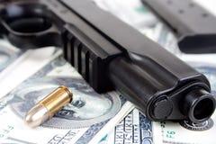 9mm bullet and gun closeup Royalty Free Stock Photos