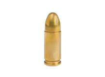 9mm bullet isolated on white Royalty Free Stock Photos