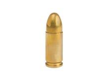 9mm bullet isolated on white. Standing 9mm bullet isolated on white background Royalty Free Stock Photos