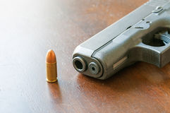 9mm bullets and gun Stock Images