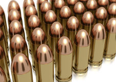 9mm bullets lined up stock images