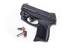 9mm Handgun & Bullets Stock Photo