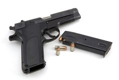 9mm Pistol And Ammo Stock Photo