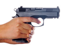 9mm pistol in hands Stock Photos
