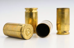 9mm Shell casings. Against gradient Stock Photos