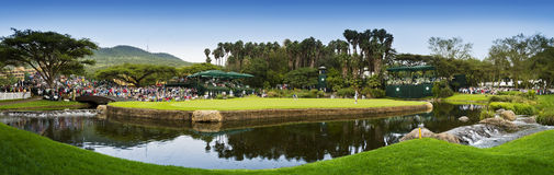 9th Hole - Panoramic View of the Green. Panoramic view of the green of the 9th hole on the Sun City Gary Player Golf Course Stock Photos
