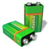 9V batterijen Royalty-vrije Stock Foto's