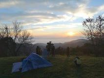 Tourists are taking photo of sunrise in Chiangmai Thailand. stock photo