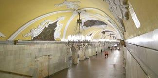 AKomsomolskayaстанцииметро(линия Koltsevaya) в Москве, России Стоковая Фотография RF