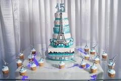 15 años zoete cake Royalty-vrije Stock Foto