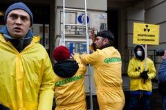 Ação antinuclear de Greenpeace Fotografia de Stock