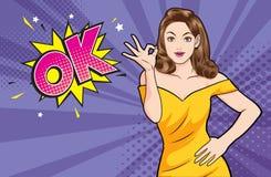Ação aprovada do gesto da mulher com bolha está bem cômica ilustração stock