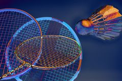 Ação artística do badminton Imagens de Stock Royalty Free
