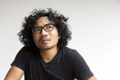 Ação asiática da cara do homem no branco Fotos de Stock Royalty Free