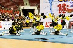Ação Cheerleading do campeonato Imagem de Stock