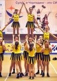 Ação Cheerleading do campeonato Fotografia de Stock