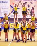 Ação Cheerleading do campeonato Fotos de Stock