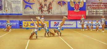 Ação Cheerleading do campeonato Imagens de Stock Royalty Free