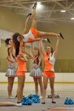 Ação Cheerleading do campeonato Imagens de Stock