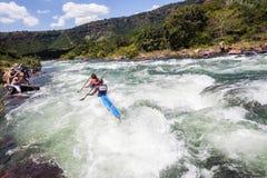 Ação da corredeira do rio da raça de Dusi da canoa Fotografia de Stock Royalty Free