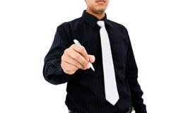 Ação da escrita do homem de negócios no fundo branco Fotos de Stock Royalty Free